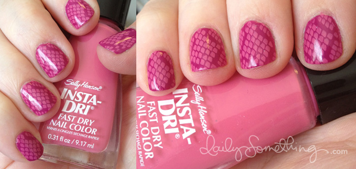 Pink Snake Skin Nails
