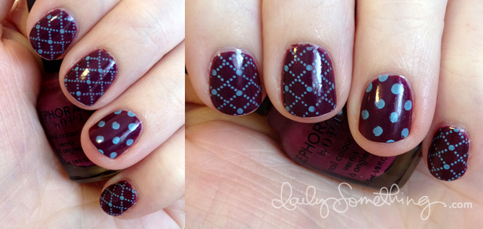 Dark Raspberry Blue Nails