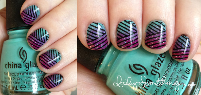 Gradient with Lines Nails