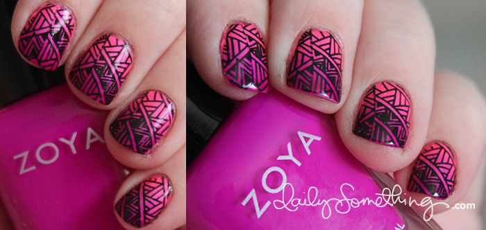 Gradient Neon Nails with Stamping