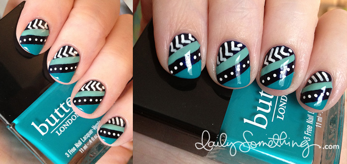 Teal Stripes & White Dots
