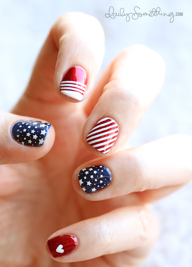 Patriotic 4th of July Manicure - Daily SomethingDaily Something