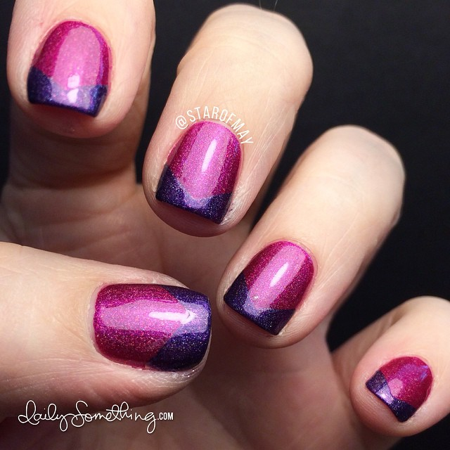 ILNP Purple Plasma on tips. Kept the pink holo polish from a couple days ago (INLP Bikini Bottoms) and used chevron nail vinyls as masks to paint the tips with ILNP Purple Plasma. #starofmaynails