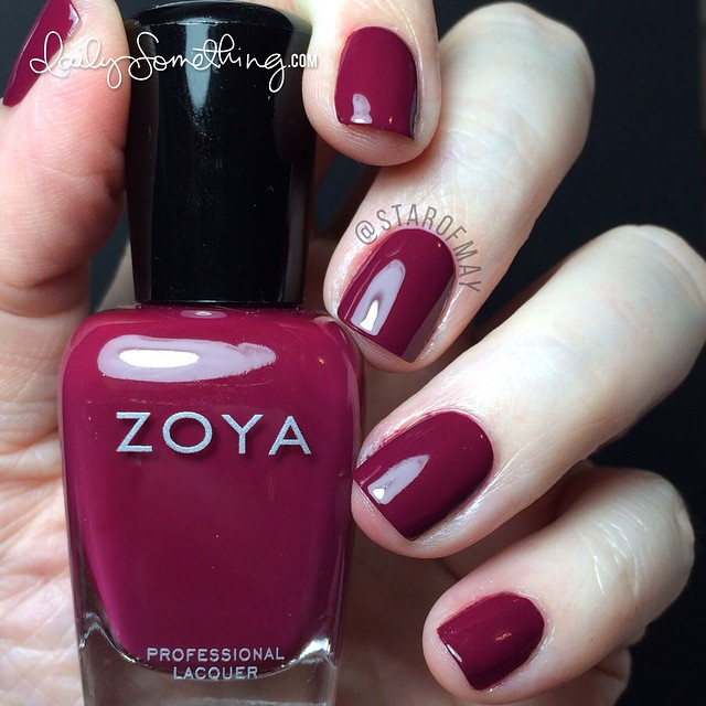 Zoya Veronica (full-coverage red wine) - My hands look as pale as can be in this pic, but the polish color is very close to what it looks like in real life. #starofmaynails