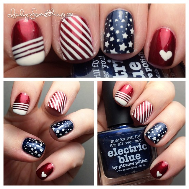 Happy Independence Day to my American friends! To celebrate, I recreated my 4th of July manicure from two years ago. I think the nails are better this time (despite having to photograph them at night and with just my iPhone). #notd #4thofjuly #4thofjulynails #patriotic #patrioticnails #nailstamping #nailart