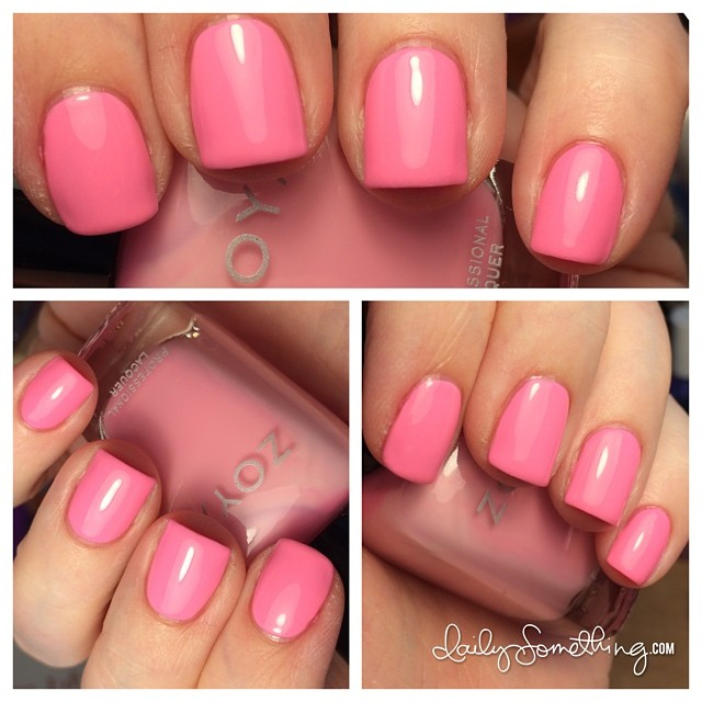 Polish change! Color is Zoya Kitridge. Hmm... It looks like a pale pink in the bottle, but it's a bright neon pink on the nails. Strange. #notd #zoya