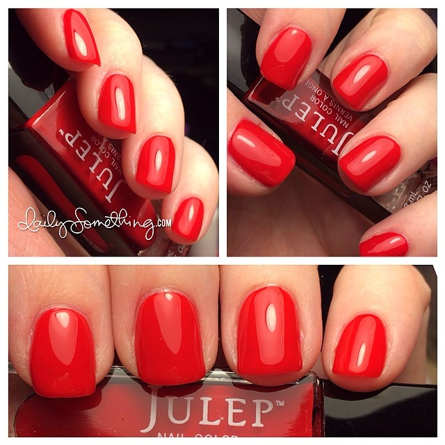 Some of you ask how I find the time to paint my nails so often. I usually paint them while waiting for videos to export from Final Cut Pro. Tonight I'm waiting for today's Color Wednesday video. This polish is from Julep (julep.com) in the color Jackie. :)