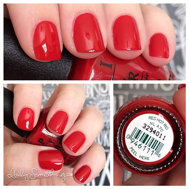 Wearing a classic red today. Somehow a red manicure goes with everything, right? ;) Polish is Red Hot Rio from OPI. #notd