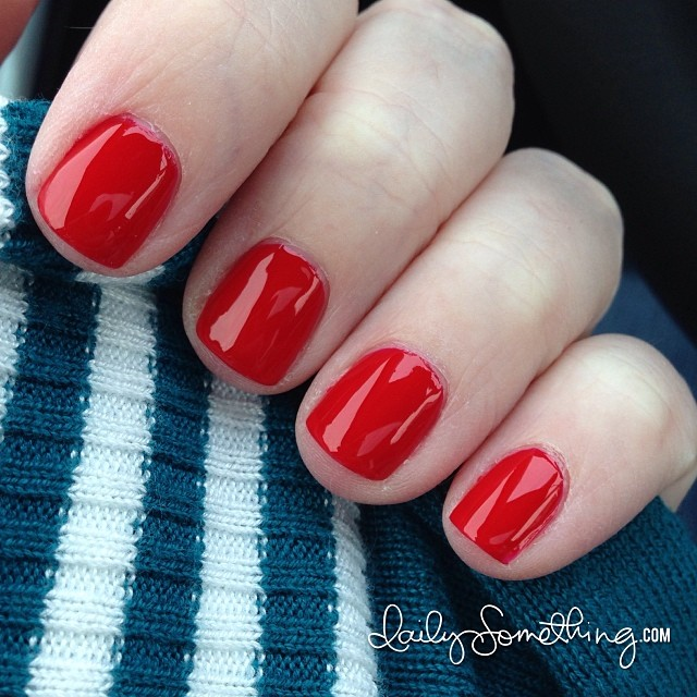 Wore this polish from Super Black Laquers for four days over the weekend. Such a pretty red. :)