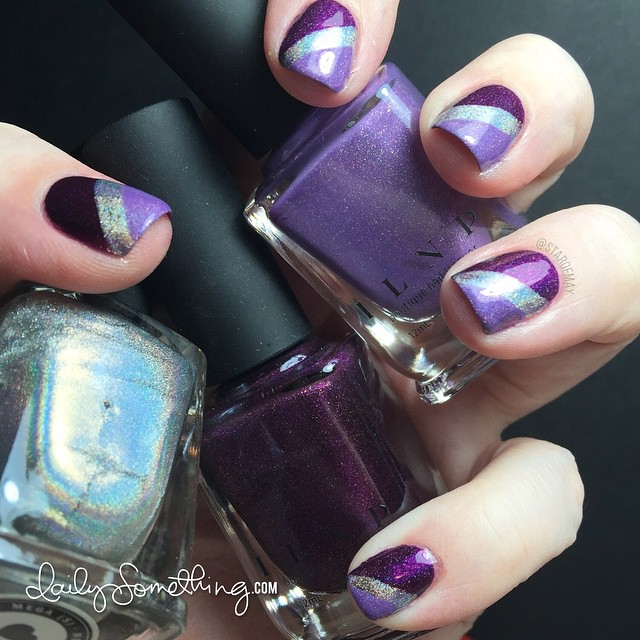 I Love Nail Polish Stripes - Using three colors: Poetry, Charmingly Purple, and Mega (S). #starofmaynails @ilnpbrand