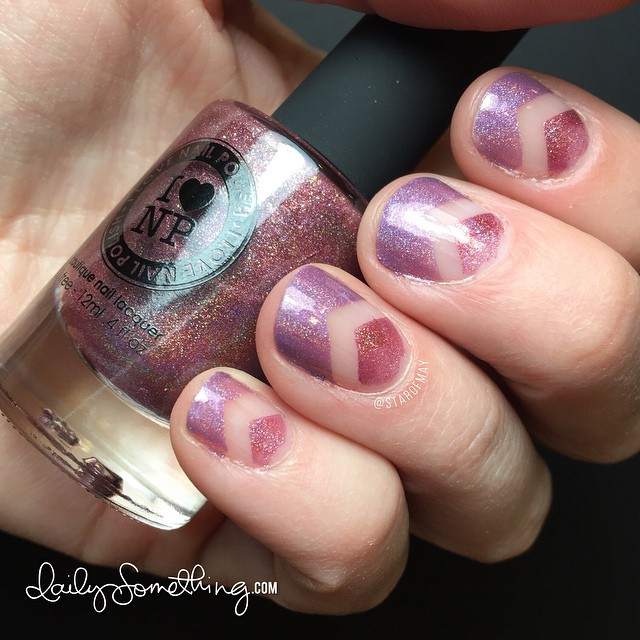 Negative Masking Nails #starofmaynails - Hand model is @jennifermcguireink. Polishes used: Champagne Blush and Dreaming In Violet from I Love Nail Polish. @ilnpbrand #ilnpchampagneblush #ilnpdreaminginviolet