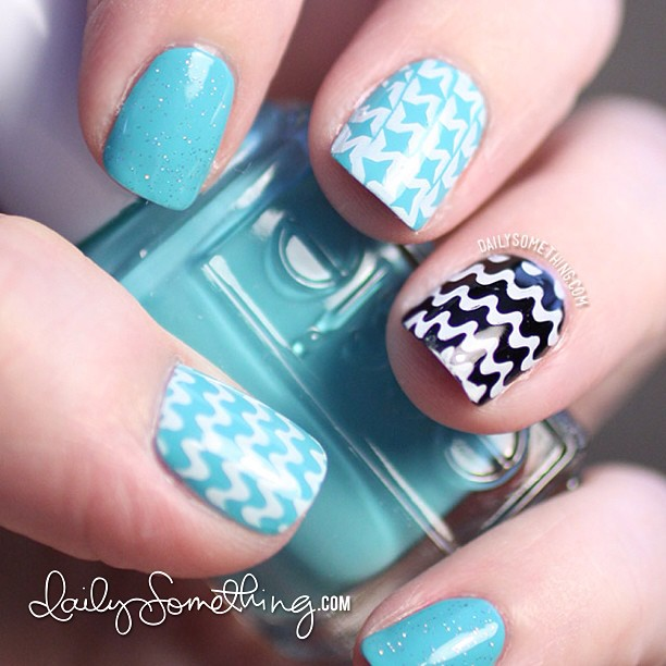 Aqua and black stamped manicure. Added to my nail blog today at dailysomething.com