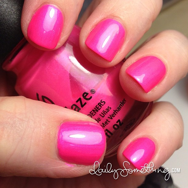 Bright pink nails!! Polish is Pink Voltage from China Glaza.