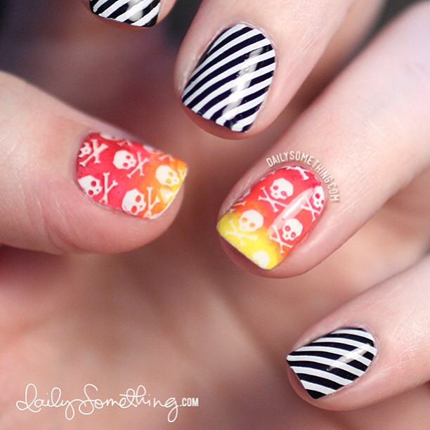 Colorful skulls and stripes. Go to my nail blog (link is in my profile) for more details. :)