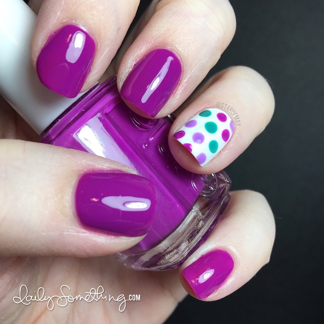 Essie Colorful Polka Dot Manicure - #starofmaynails - Essie DJ Play That Song, Naughty Nautical, and Sittin' Pretty, plus OPI Alpine Snow. Dots created with dotting tool.