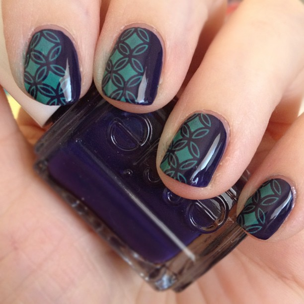 Essie No More Film w/ Sally Hansen Insta-Dri Mint Sprint stamped with Konad S6 plate.
