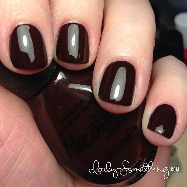 I adore this polish color every time I wear it. :) Color: Hard-Kourt Fashionista by Nicole by OPI