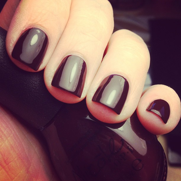 I love right after I paint my nails, when everything is all glossy perfection. :) Color: Nicole Hard-Kourt Fashionista.