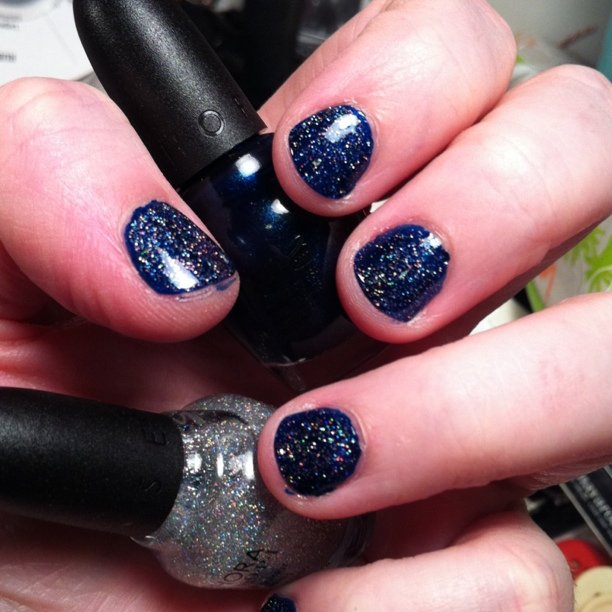 Ignore the short stubby nail. This nail polish combo is amazing! Glee polishes Sue vs. Shue with Celibacy Club glitter polish on top.