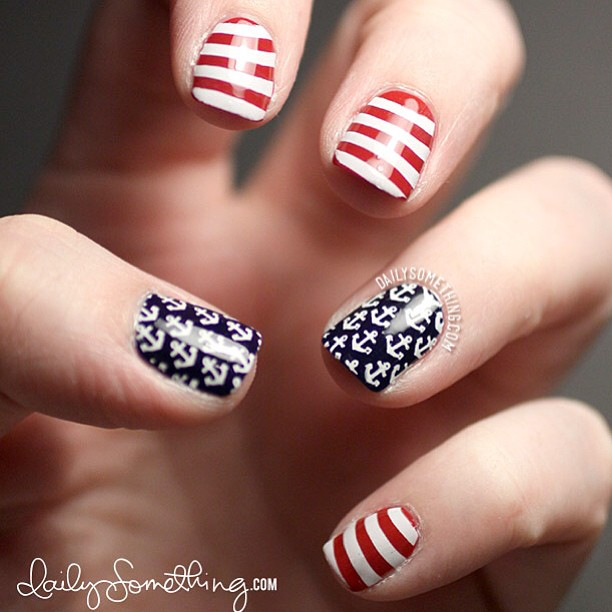 Nautical 4th of July manicure. New post at my nail blog at dailysomething.com