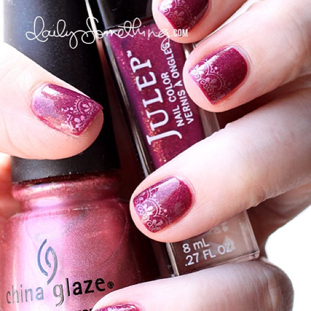 Today's nails: Julep Joan + China Glaze Emotion Stamping. More info at my nails blog: http://www.dailysomething.com