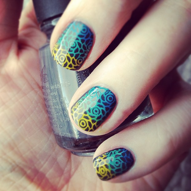 Tried 3-color stamping today. Filmed it. Video will be on nail blog soon. :)