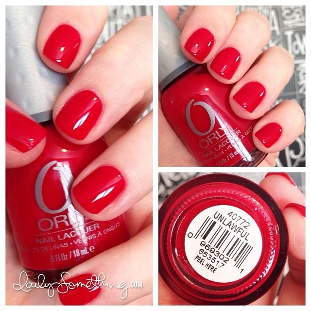 Trying out different reds for the upcoming holiday season. Today's polish is Unlawful by Orly.