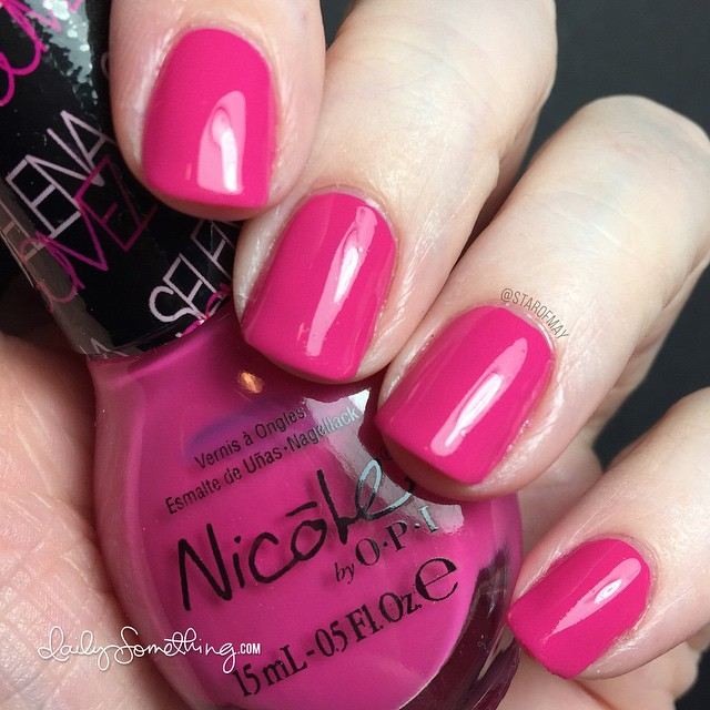Nicole by OPI Spring Break - An older polish that I go back to again and again. Just an awesome bright pink. :) Top coat is HK Girl. #starofmaynails