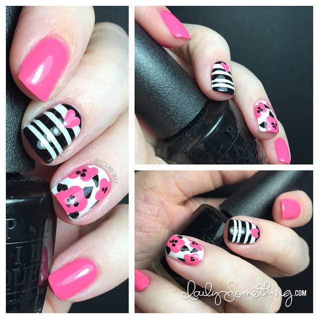 Pink Flowers & Black Stripes - Recreation of a manicure by @badgirlnails. Pink = OPI Kiss Me I'm Brazillian, Black = OPI Black Onyx, White = OPI Alpine Snow. #starofmaynails