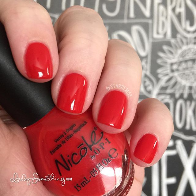 I've been on a red polish kick recently and this is one of my favorites. It's an older one (3 years old?) but it has the best formula. Nicole polishes just glide onto the nail. This one needed 3 coats, and there's still a bit of visible nail line, but I try to ignore it. Ha! ~~~~~~~~~~~~~~~~~ Base coat: Nail Tek Intensive Therapy II Polish: Kourt is Red-Y For a Pedi by Nicole by OPI Top coat: HK Girl by Glisten & Glow <---  ~~~~~~~~~~~~~~~~~ #starofmaynails