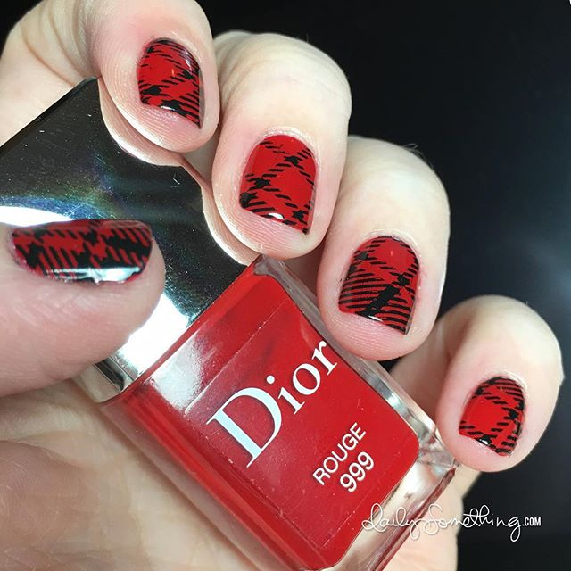 Red & Plaid Stamping Manicure #starofmaynails