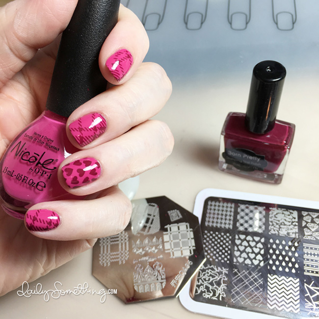 Hearts & Plaid Stamped Nails