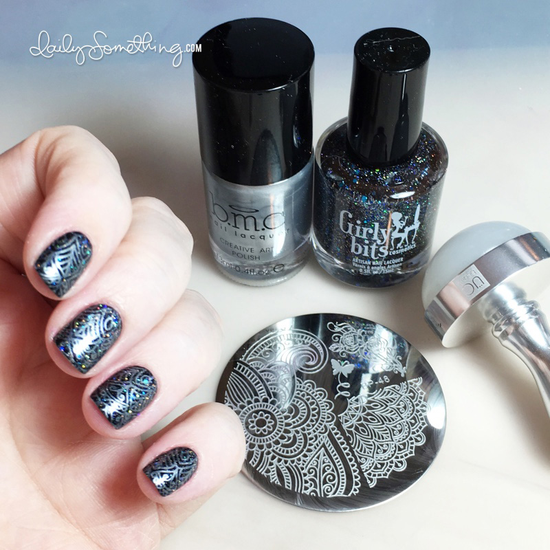 Black Glitter Silver Stamping
